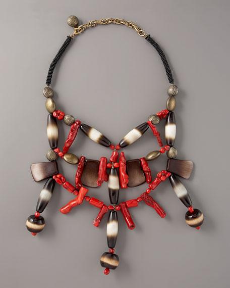 Coral & Wood Bib Necklace