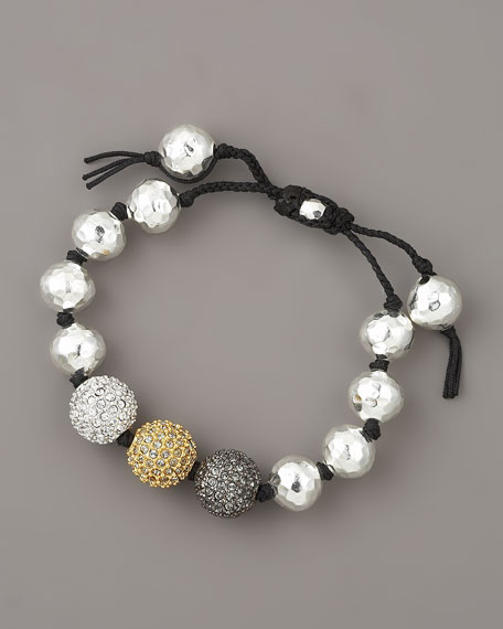 NM Exclusive Pave Bead Bracelet, Silver
