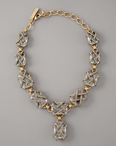 Woven Pave-Strap Necklace