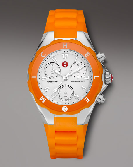 Tahitian Large Jelly Bean Chronograph, Orange/Steel