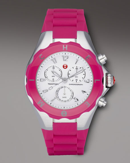 Tahitian Large Jelly Bean Chronograph, Pink/Steel