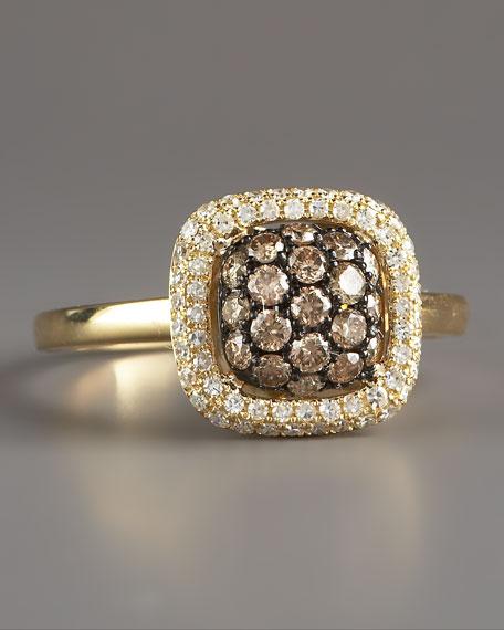 Champagne & White Diamond Ring, Yellow