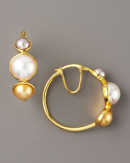 Pearl Station Gold Hoop Earrings
