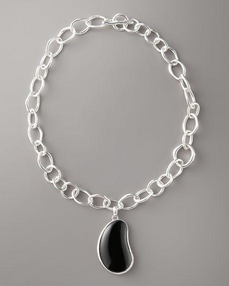 Pave Black Onyx Bean Pendant