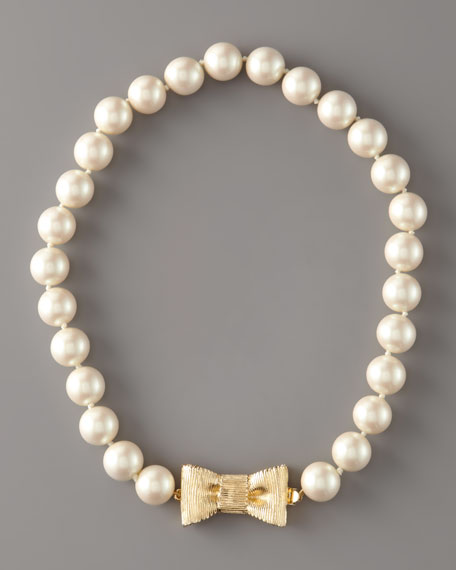 Bow-Clasp Pearl Necklace