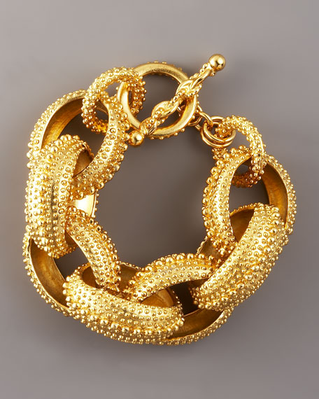 Oscar de la Renta Textured Link Bracelet