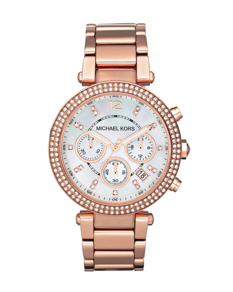 Michael Kors Mid-Size Rose Golden Stainless Steel Parker