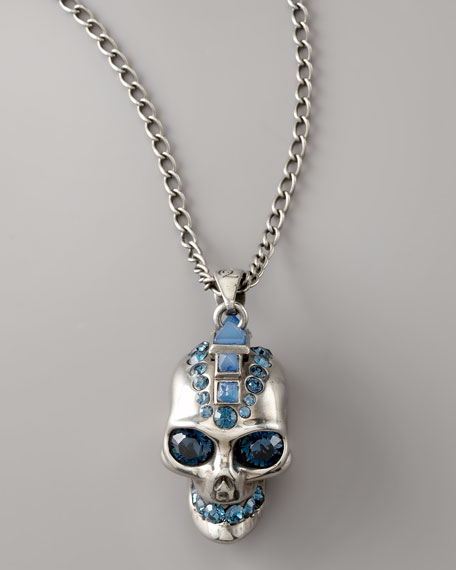 Skull Pendant Necklace, Silver