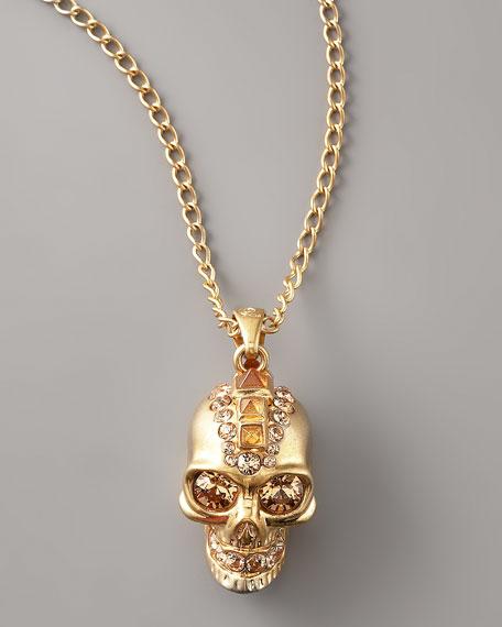 Skull Pendant Necklace, Golden