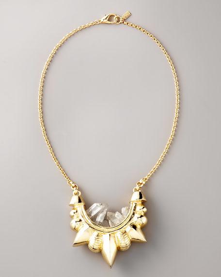 Gold Tribal Spike Necklace, Medium
