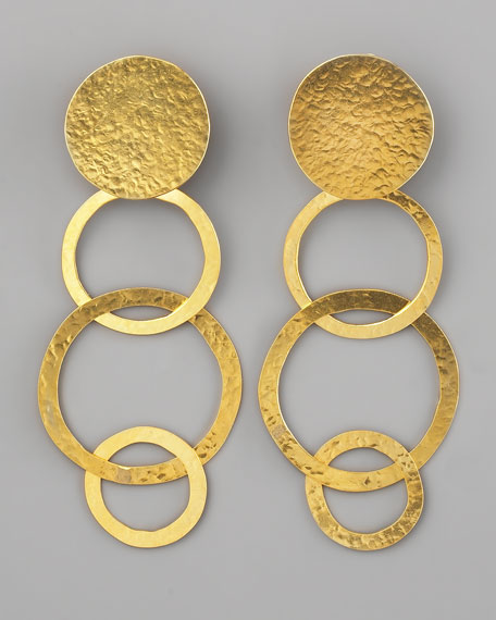 Disc & Open Circle Clip Earrings