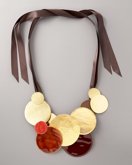 Disc & Ribbon Necklace