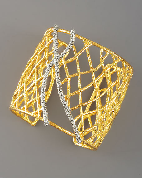 Pave-Accented Woven Cuff, Gold