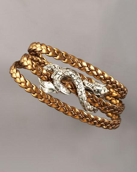 Triple-Wrap Leather Naga Bracelet, Brown