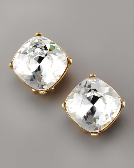 Crystal Stud Clip Earrings