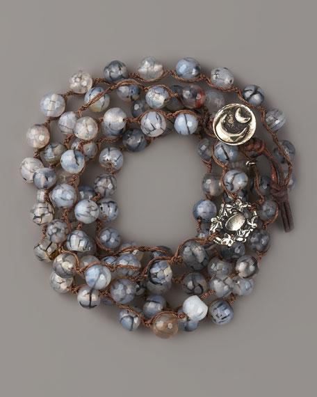 Agate Bead & White Bronze Bracelet