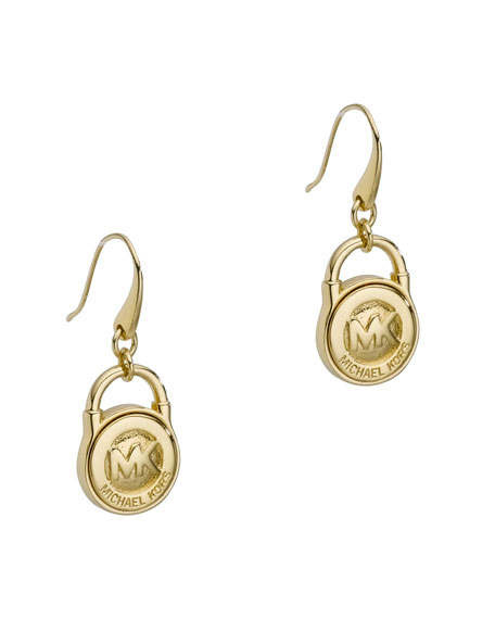 Lock Earrings, Golden