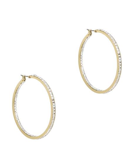 Crystal Hoop Earrings, Golden