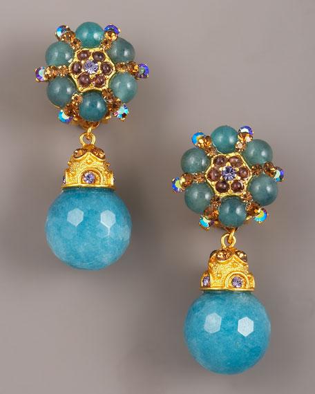 Jose & Maria Barrera Faceted Jade Drop Earrings
