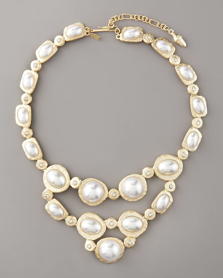 Kenneth Jay Lane Pearl & Crystal Bib Necklace