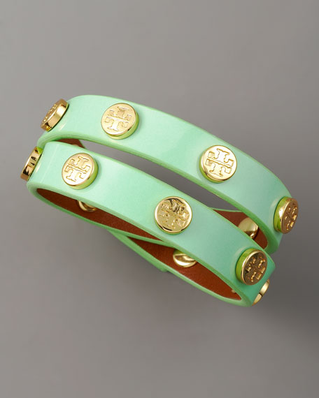 Logo-Studded Bracelet, Light Green