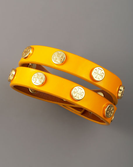 Logo-Studded Bracelet, Yellow