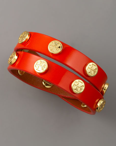 Logo-Studded Bracelet, Orange
