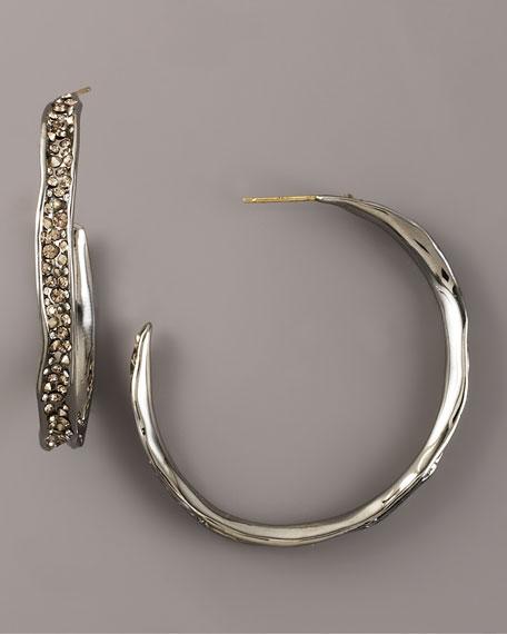 Wavy Pave Hoop Earrings