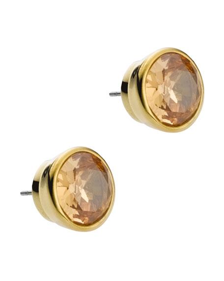 Crystal Stud Earrings, Golden