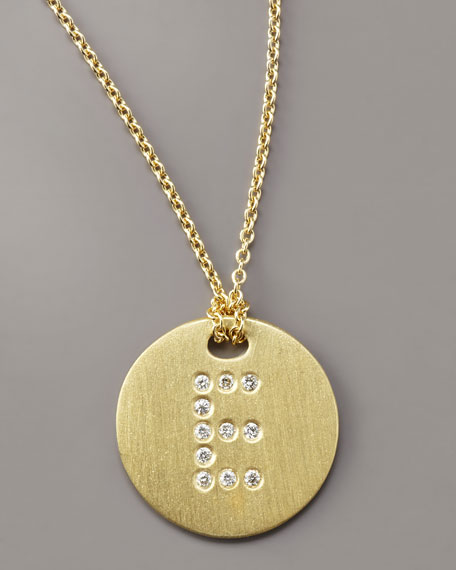 Medallion Letter Necklace, E