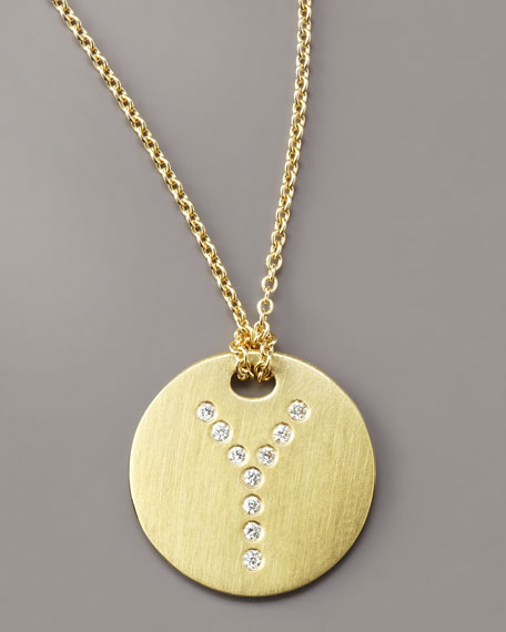 Letter Medallion Necklace, Y