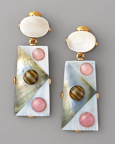 Pearly Geometric Earrings