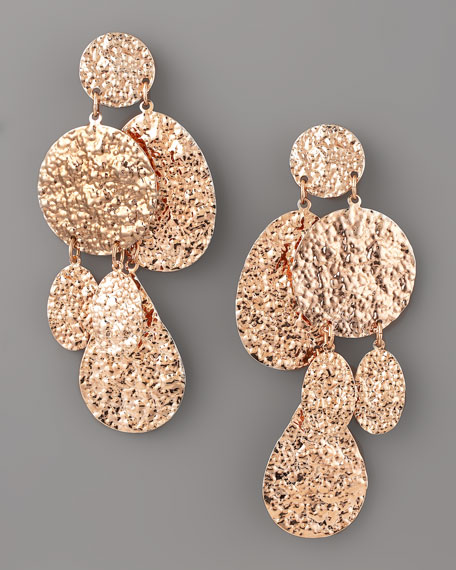 Hammered Disc Clip Earrings