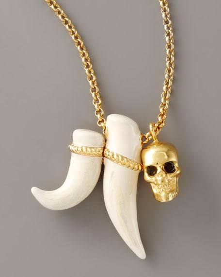 Skull & Tusk Pendant Necklace, Golden