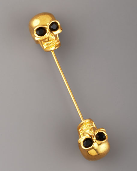 Double-Skull Scarf Pin