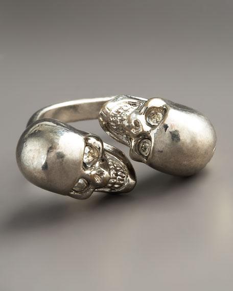 Skull Bypass Ring, Silvertone