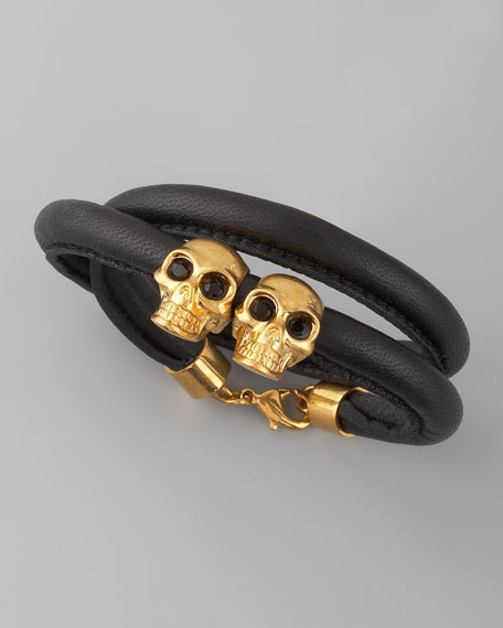 Skull & Leather Bracelet, Black