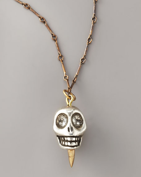 Skull Pendant Necklace, Silver