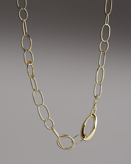 """Handcrafted Gold Link Necklace, 18""""L"""