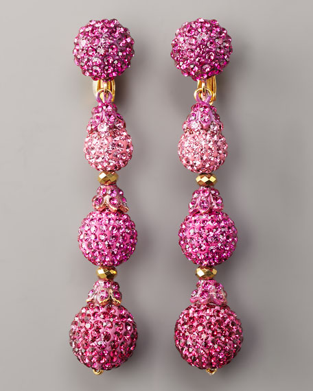 Pave Drop Earrings, Hot Pink