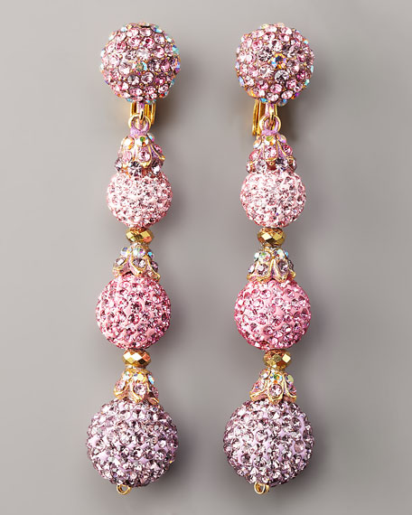 Pave Drop Earrings, Light Pink