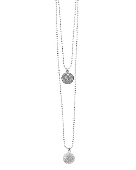 Exclusive Pave Disc and Pave Fireball Necklace Set, Silver