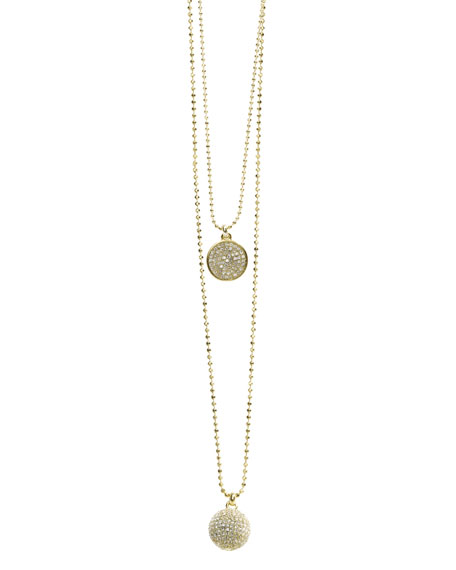 Exclusive Pave Disc and Pave Fireball Necklace Set, Golden