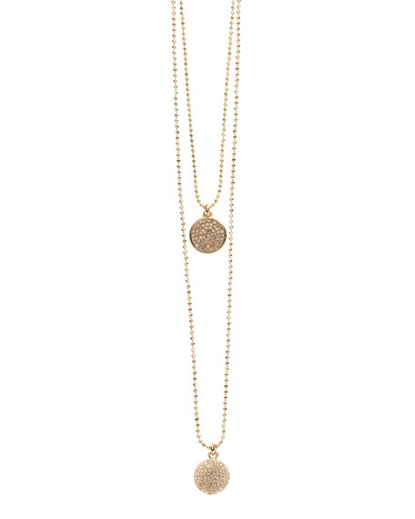 Exclusive Pave Disc and Pave Fireball Necklace Set, Rose Golden