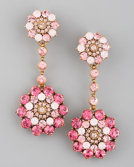 Rhinestone Drop Earrings, Pink