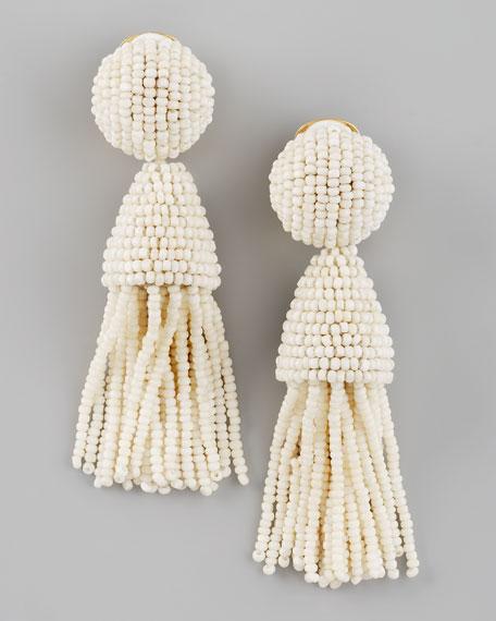 Beaded Short Tassel Earrings, Ivory