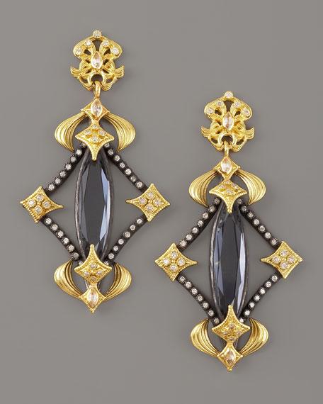 Hematite & Diamond Drop Earrings