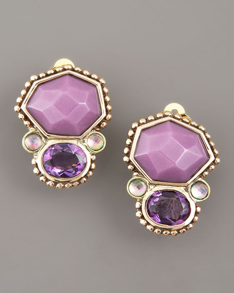 Amethyst Piggy Back Clip-On Earrings