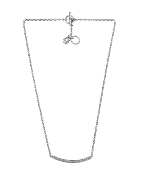 Silver-Color Necklace with Pave Bar Detail