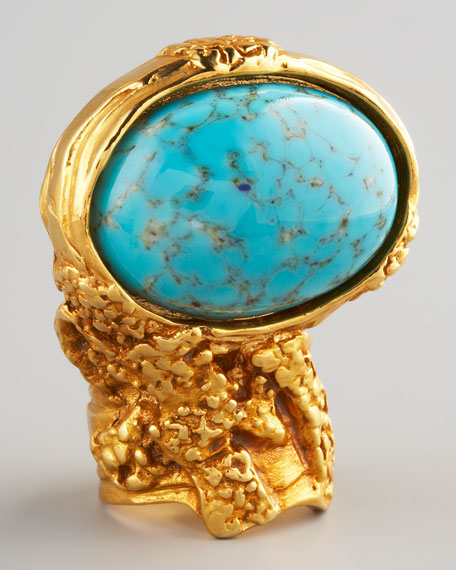 Turquoise Glass Arty Ring